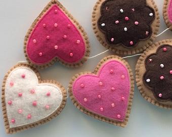 Valentine Cookie Garland-Valentine Garland-Valentine's Day Decorations-Valentine Decor-Valentine Cookies-Valentines Day Garland-Felt Cookies