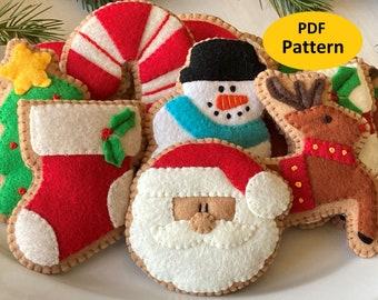 Christmas Ornaments Felt Pattern - Christmas Cookies - Christmas Decorations - Santa, Reindeer, Snowman, Stocking, Candy Cane, Tree Ornament