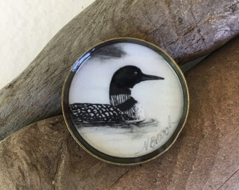 Loon with Baby Pin ~ Antiqued Pewter ~ Lapel Pin