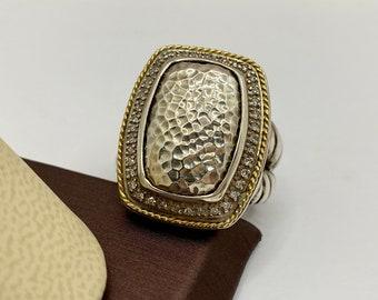 Details about  /Samuel B Benham BJC Designer 18K Gold Sterling Silver 925 Vintage Art Deco Ring