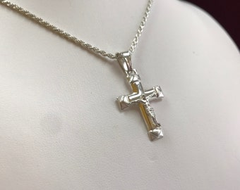 Italy 925 Sterling Silver Necklace With Cross Pendant!!!