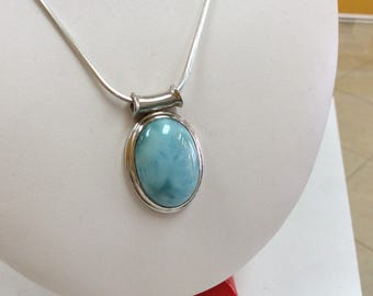 Italy  925  Sterling Silver Necklace With Baby  Blue Gemstone Free US Shipping!!!