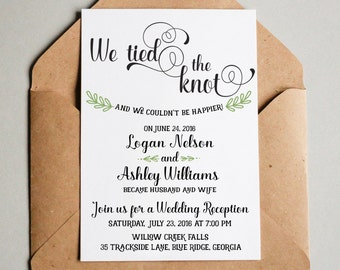 wedding reception invitation we tied the knot elopement etsy