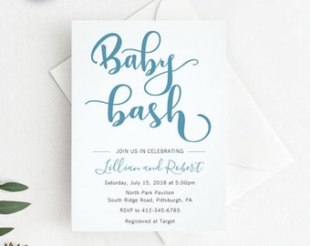 Blue Baby Bash for baby boy - COUPLES SHOWER invitation
