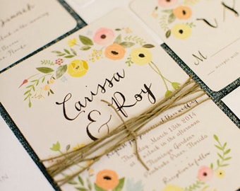 Boho Wedding Invitations, Floral, Vintage, Rustic, Bohemian, Garden Featured on Ruffledblog.com