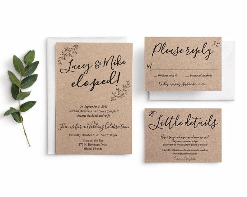 Elopement Announcement Wedding Announcement Private Ceremony Post Wedding Reception Invitation Rsvp Card Information Card