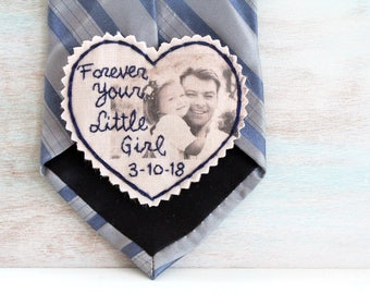 Custom Portrait. Father of the Bride. Father of the Bride gift. Gift for Dad. Tie Patch. Mens tie. Hand Stitched Wedding Tie Patch.