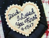 SKINNY Patch. Hand Embroidered Love Note Tie Patch. Father of the Bride. Father of the Bride Gift. Gift for Dad. Necktie. Personalize.