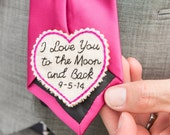 Groom Gift. Hand Embroidered Tie Patch. Groom Gift from Bride. Tie Patch. Necktie. Wedding. Father of the Bride. Sew Happy Girls.