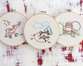 Embroidery Pattern. Animal Embroidery. DIY Embroidery. DIY Hoop Art. Modern Embrodiery. Fox. Owl. Deer. PDF Pattern. Animal Hand Embroidery.
