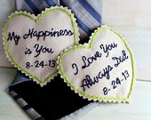 Groom Gift from Bride. Father of the Bride Gift. Hand Embroidered Tie Patch. Pair of Hearts. Groom Tie. Necktie. Mens Ties. Wedding.