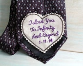 Hand Embroidered Tie Patch. Hand Embroidered Love Note for your Groom. Groom Gift from Bride. Necktie. Wedding Keepsake. Tie. Groom Gift