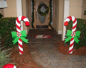 2 christmas candy canes yard art