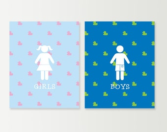 kids bathroom sign boy kids bathroom wall art bath decor childrens boys girls restroom signs rubber ducky prints sign etsy