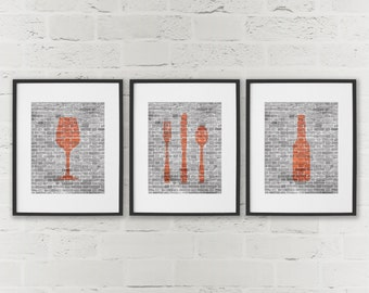 Exceptional Dining Room Art   Kitchen Prints Beer Wine Cutlery   Set Of 3 Prints    Bottle Glass Fork Knife Spoon Prints   Hipster Kitchen Wall Decor