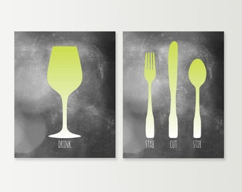 kitchen wall art fork knife spoon kitchen sign dining room