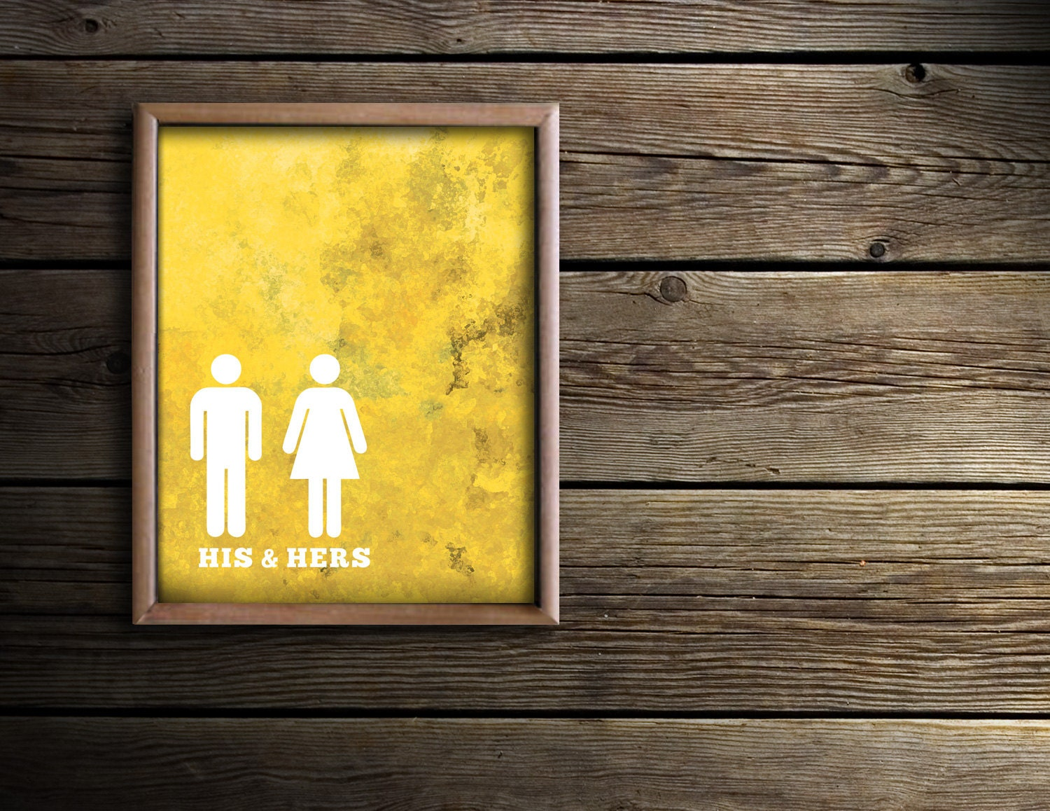 Bathroom Wall Art Bath Prints Yellow Bathroom Art His & | Etsy