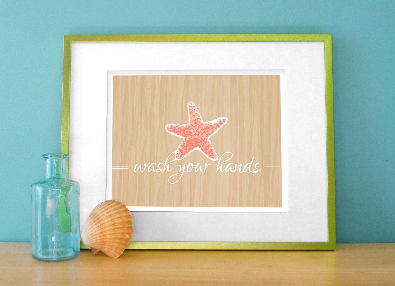 Tropical Bathroom Beach Decor: Starfish Bathroom Art Tropical Bathroom Prints Starfish