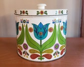 Groovy Tulip Design Tin Bisquick Canister Retro Design Recipes on Back