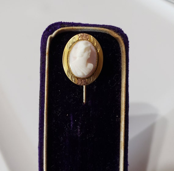 Antique Signed ALLCO Cameo Set in Gold Tone Stick