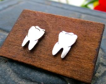 Tiny Teeth Earrings - Sterling Silver