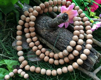 108pc 8mm Natural Aromatic Wood Beads Indian Sandalwood Woodland For Malas Prayer