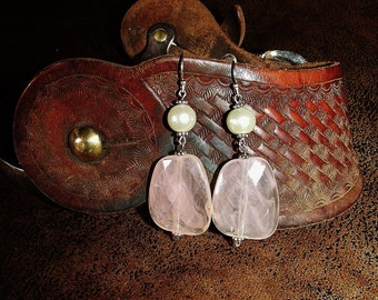 Antique White Pearl and Imitation Pink Quartz Dangle Earrings