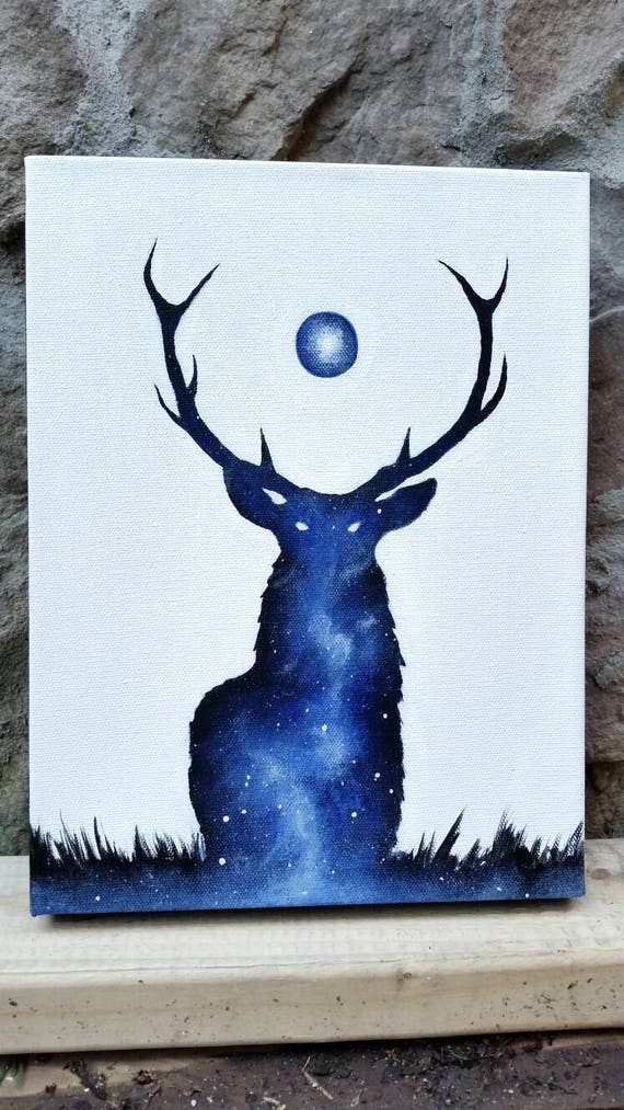 Deer Painting Double Exposure Deer Galaxy Canvas Painting