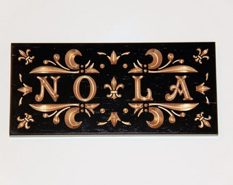 Custom Carved Black and Gold New Orleans Themed Sign