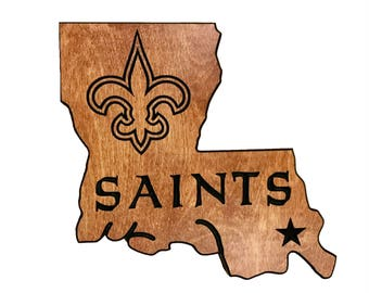 HandMade New Orleans Saints State Shaped Sign