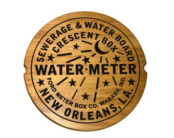"""Large New Orleans Water Meter Cover Wood Carved Sign (15""""x15"""")"""