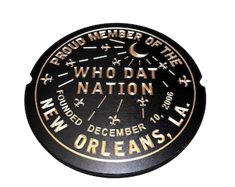 """Large New Orleans Saints Who Dat Nation Wood Carved Sign (15""""x15"""")"""