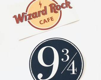 Wizard Rock Cafe & 9 3/4 Vinyl Stickers