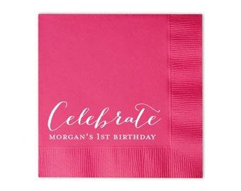 birthday beverage napkins {lots of foil colors!} Celebrate {name/'s} 1st Birthday Gold Foil Cocktail Napkins
