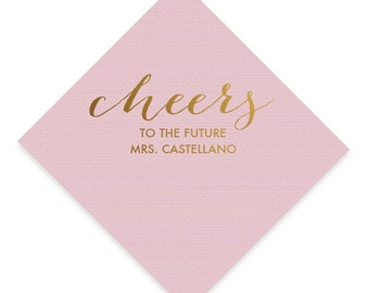 cheers to the future mrs last name personalized gold or silver foil cocktail napkins blush pink napkin bridal shower napkins