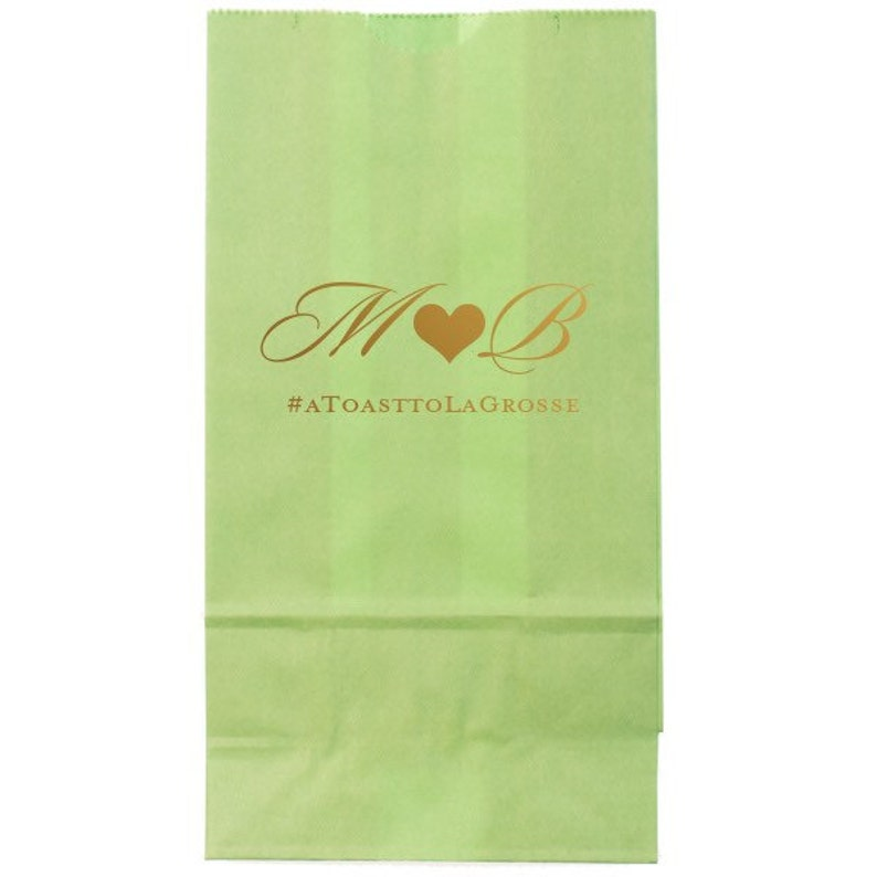 Personalized Custom Wedding and Event Bags PopcornCandyWedding Favor Bags with Monogram and Wedding Hashtag in Foil Wedding Favors