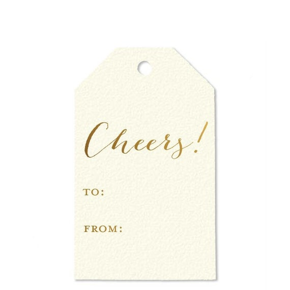 Holiday gift tags {set of 10} gold foil gift tags   xoxo   love   cheers   happy holidays