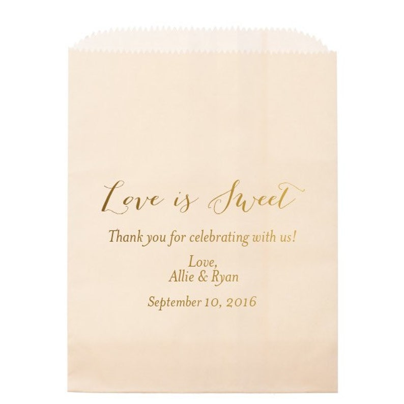 Candy Bags with Shiny Gold Foil Custom Wedding Candy Bags Wedding Favors Love Is Sweet Personalized Wedding Candy Buffet Bar Bags