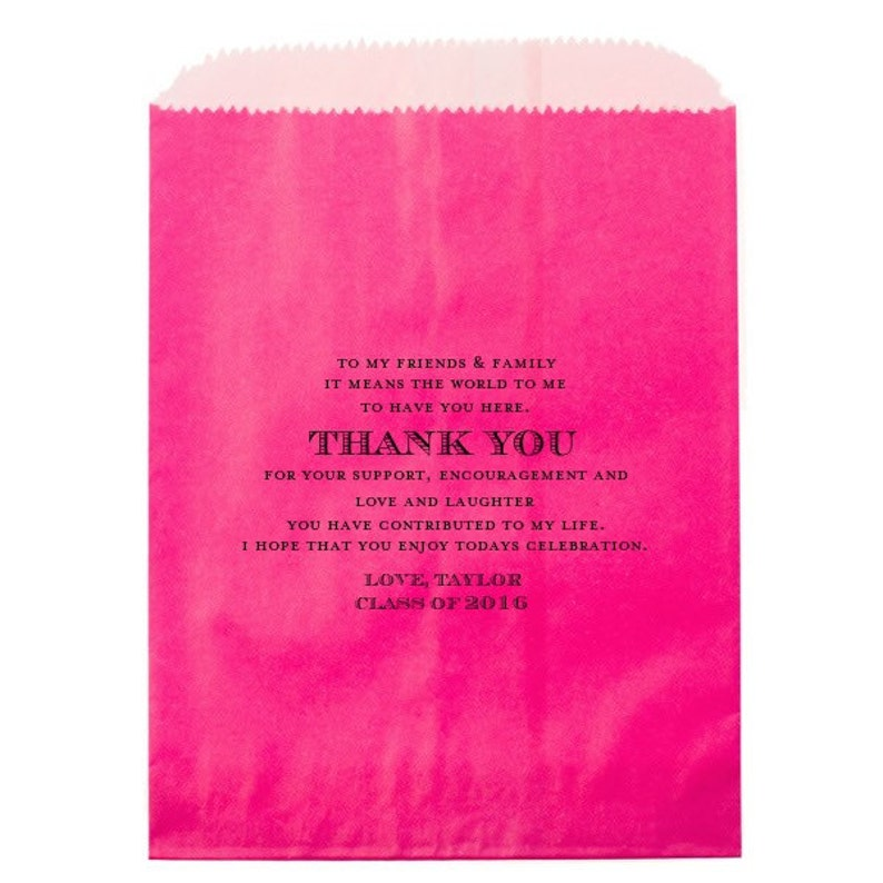 Hot Pink Bag with Black Foil Graduation Thank You Personalized Candy Buffet Bags Custom Candy Bags Favors Class of 2016 Bags