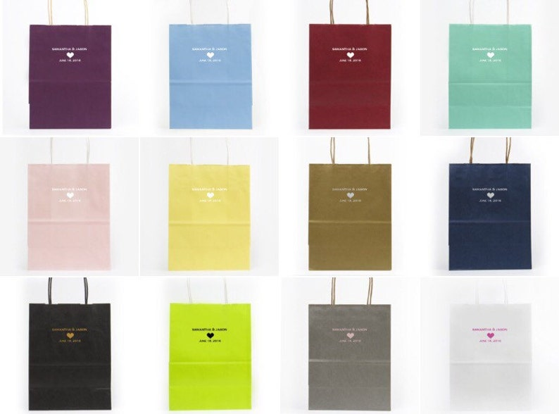Personalized Wedding Bags {lots of bag ans foil colors!} Hospitality Bags Guest Bags Wedding Welcome Bags with Foil