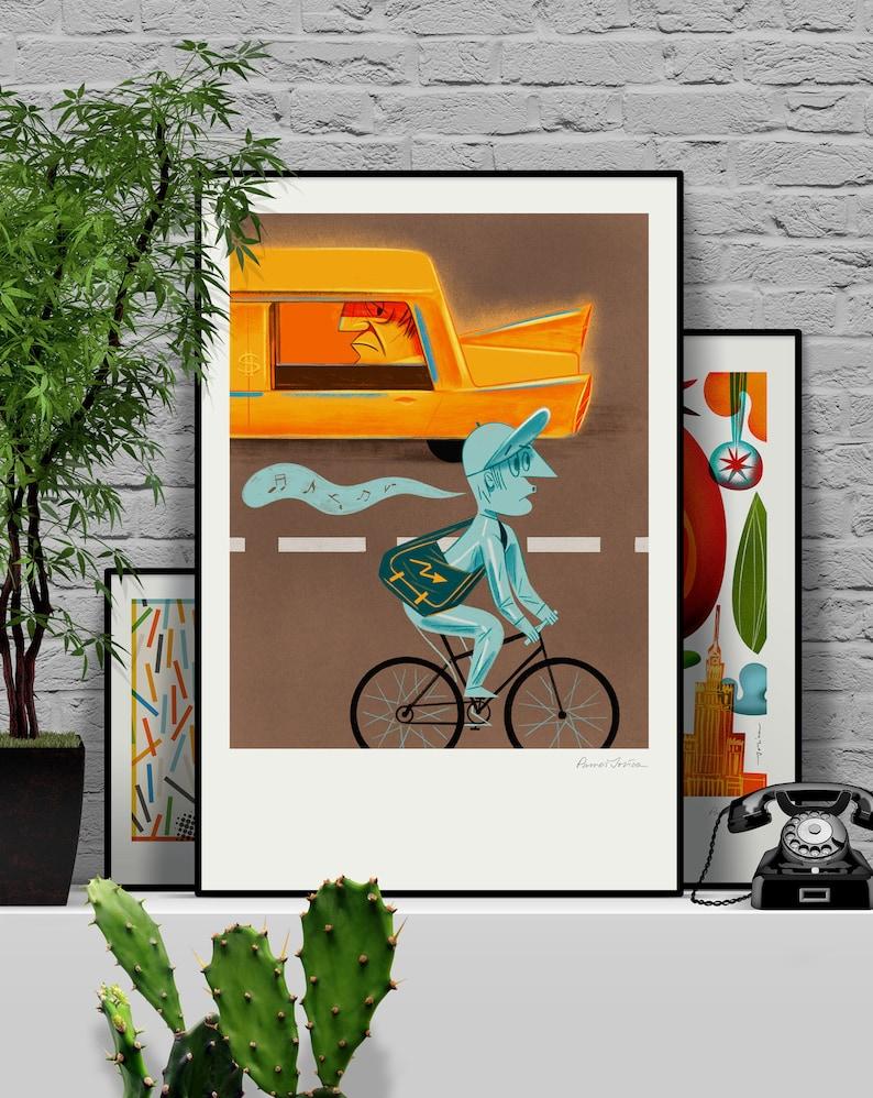 Be happy. Original illustration art poster giclée print signed image 0