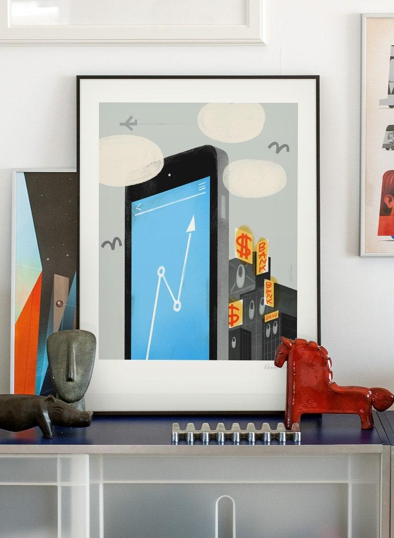 e-bank 2. Original illustration art poster giclée print signed image 0
