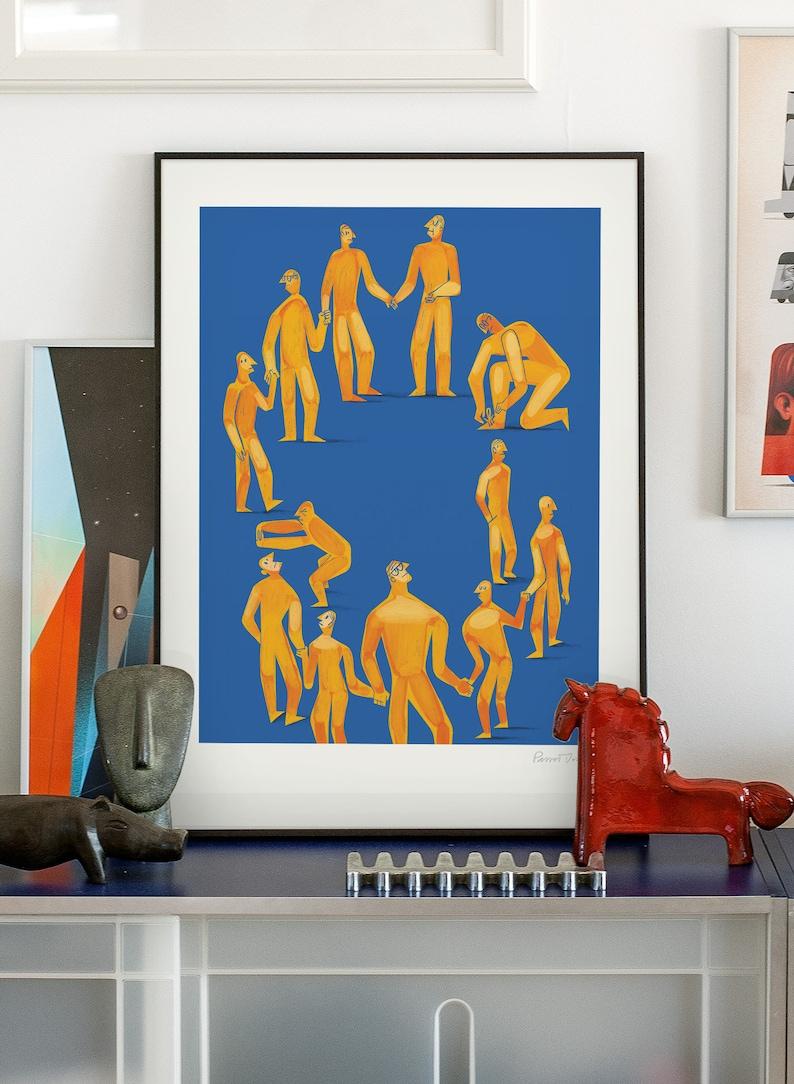 European Union. Original illustration art poster giclée print image 0