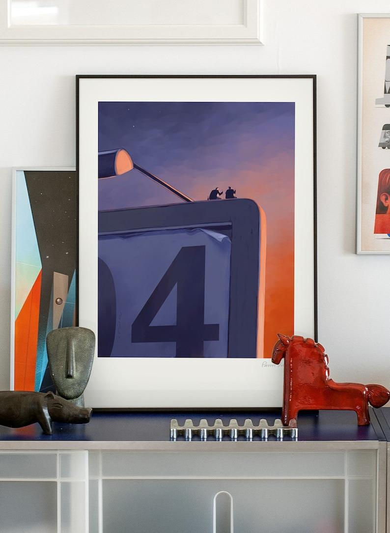 Champagne. Original illustration art poster giclée print image 0