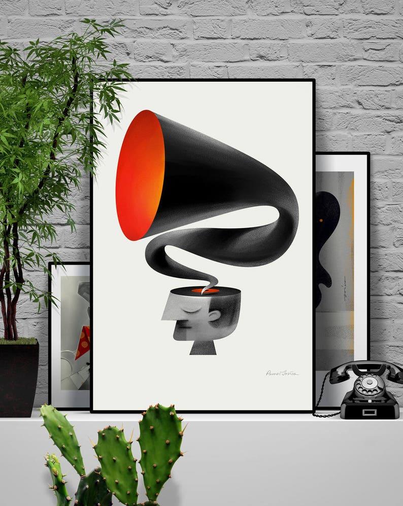 Voices. Original illustration art poster giclée print signed image 0