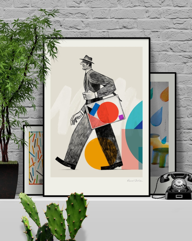 Less. Original illustration art poster giclée print signed by 61x91 cm