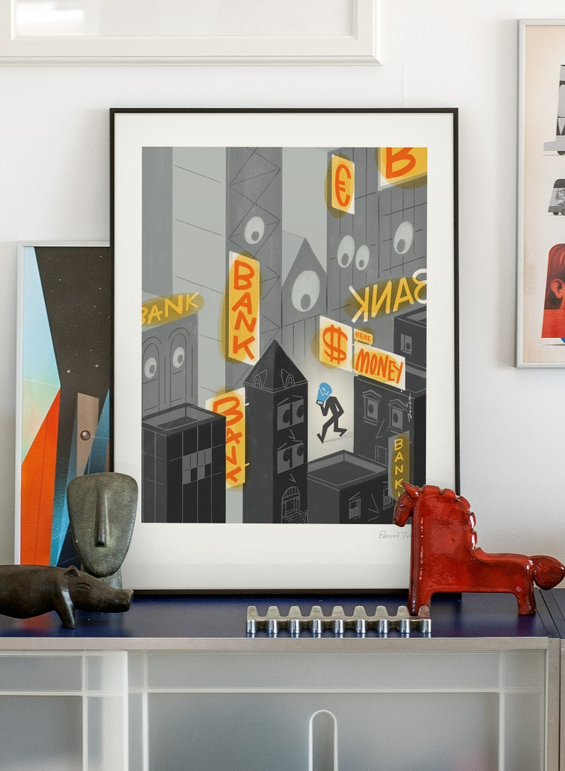 e-bank. Original illustration art poster giclée print signed image 0