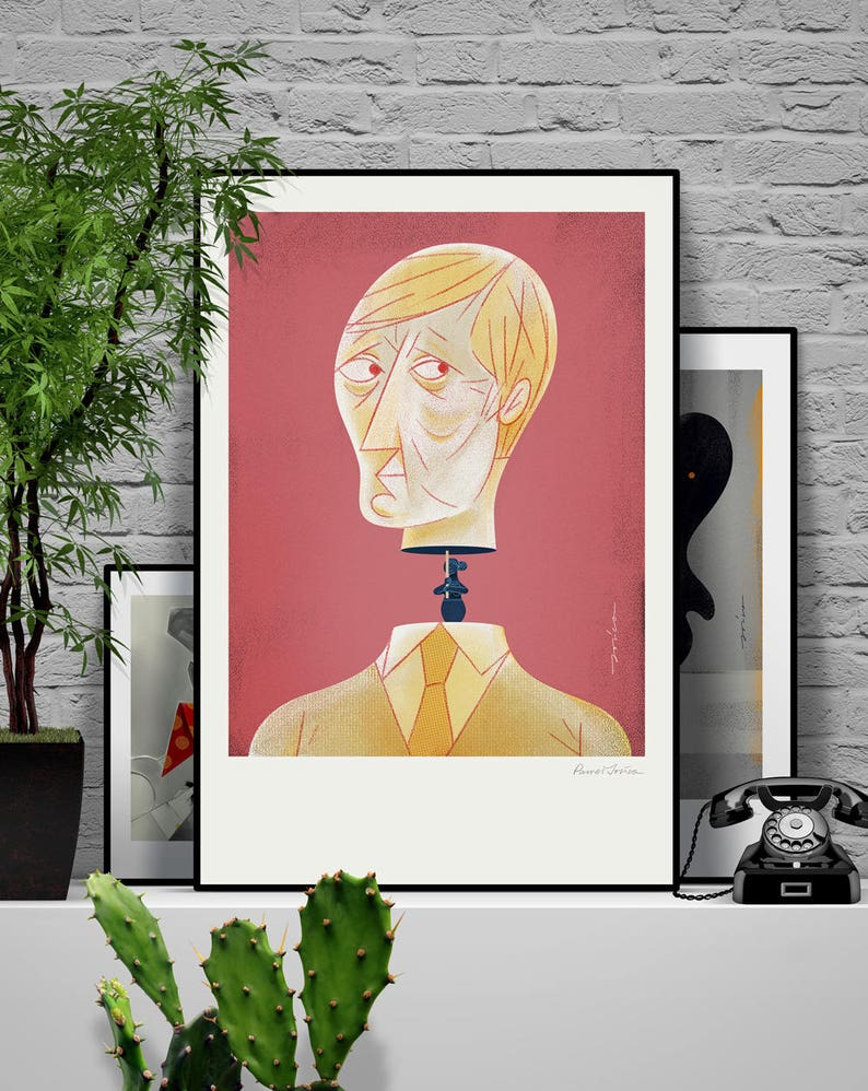 Men. Original illustration art poster giclée print signed by image 0