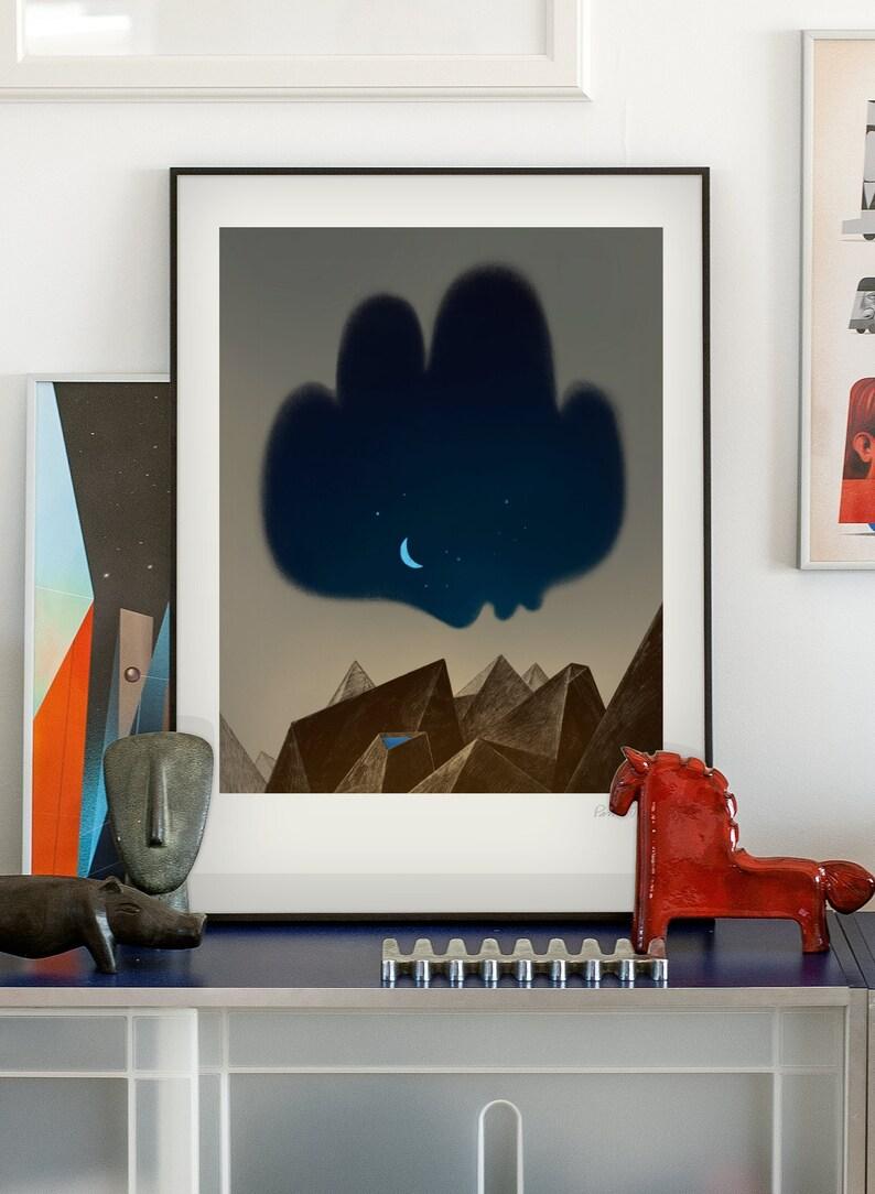 Tenderness. Original illustration art poster giclée print 50x70 cm