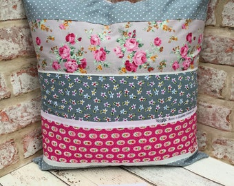 "Handmade cushion cover, Pink and Cream cushion, patchwork cushion, floral shabby chic decor, zip fastening 12"" x 12"" cushion cover"